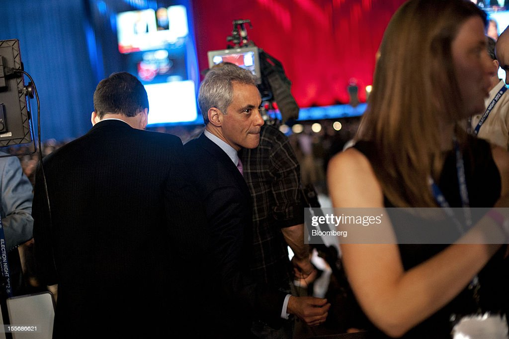 Rahm Emanuel, mayor of Chicago and former White House chief of staff, leaves following a television interview at an election night rally in Chicago, Illinois, U.S., on Tuesday, Nov. 6, 2012. U.S. President Barack Obama was projected the winner in the battleground states of Wisconsin and New Hampshire, according to television networks, as well as in Pennsylvania, thwarting Republican challenger Mitt Romney's late bid for a victory in that state. Photographer: Daniel Acker/Bloomberg via Getty Images