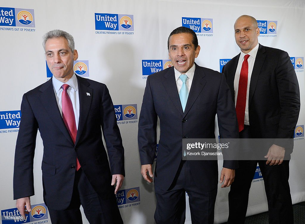 Rahm Emanuel, (L) Mayor of Chicago, Antonio Villaraigosa, (C) Mayor of Los Angeles and Cory Booker, Mayor of Newark, N.J., arrive for a discussion on the challenges of urban education reform during the United Way of Greater Los Angeles' Education Summit at the Los Angeles Convention Center on February 27, 2013 in Los Angeles, California. Villaraigosa was honored during the summit for championing education reform.