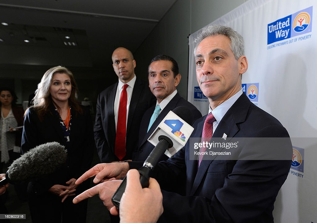 Rahm Emanuel, (R) Mayor of Chicago, speaks as (R - L)Antonio Villaraigosa, Mayor of Los Angeles, Cory Booker, Mayor of Newark, N.J., and Elise Buik, President and CEO, United Way of Greater Los Angeles look on before attending a discussion on the challenges of urban education reform during the United Way of Greater Los Angeles' Education Summit at the Los Angeles Convention Center on February 27, 2013 in Los Angeles, California. Los Angeles Mayor Antonio Villaraigosa was honored during the summit for championing education reform.