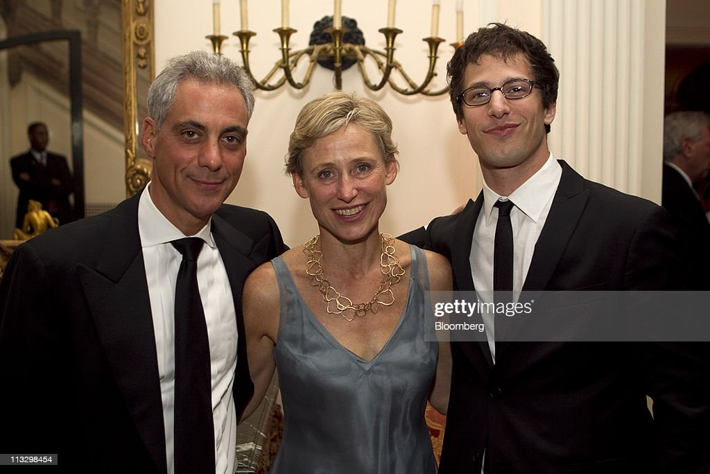 <a gi-track='captionPersonalityLinkClicked' href=/galleries/search?phrase=Rahm+Emanuel&family=editorial&specificpeople=753774 ng-click='$event.stopPropagation()'>Rahm Emanuel</a>, mayor-elect of Chicago, left, his wife Amy Rule, center, and <a gi-track='captionPersonalityLinkClicked' href=/galleries/search?phrase=Andy+Samberg&family=editorial&specificpeople=595651 ng-click='$event.stopPropagation()'>Andy Samberg</a> of 'Saturday Night Live,' attend the Bloomberg Vanity Fair White House Correspondents' Association (WHCA) dinner afterparty in Washington, D.C., U.S., on Saturday, April 30, 2011. The dinner raises money for WHCA scholarships and honors the recipients of the organization's journalism awards. Photographer: Andrew Harrer/Bloomberg via Getty Images