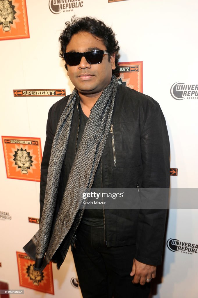 <a gi-track='captionPersonalityLinkClicked' href=/galleries/search?phrase=A.R.+Rahman&family=editorial&specificpeople=1269970 ng-click='$event.stopPropagation()'>A.R. Rahman</a> (member of SuperHeavy) celebrates the release of the new CD 'SuperHeavy' at The Double Seven on September 21, 2011 in New York City.