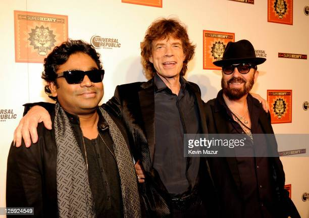 R Rahman Mick Jagger and Dave Stewart celebrate the release of their new CD 'SuperHeavy' at The Double Seven on September 21 2011 in New York City