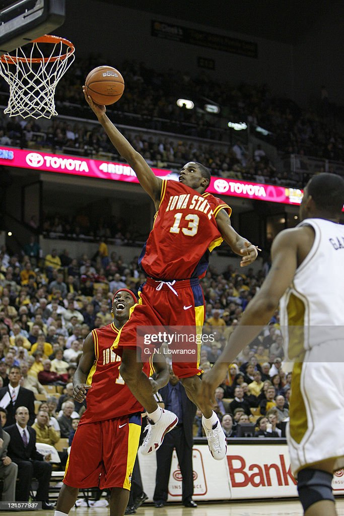 Rahshon Clark of Iowa State goes in for a layup during 2nd half action against the Missouri Tigers in a Big 12 Conference game at Mizzou Arena in...