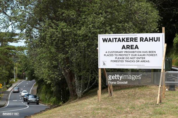Rahui or customary prohibition sign in Titirangi asks visitors not to enter tracks or forested areas in the Waitakere Ranges Regional Park on...