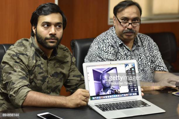 Rahul Anand a businessman along with his father who was allegedly duped by an African trade company showing his video chat details with Nigerian...