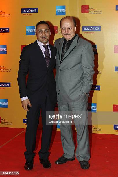 Rahul Bose and Anupam Kher attend the 14th Mumbai Film Festival Opening Ceremony held at NCPA on October 18 2012 in Mumbai India
