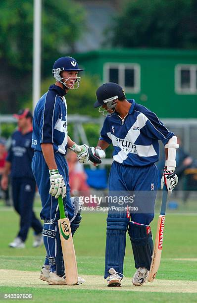 Rahul Dravid and Jon Kent batting for Scotland in the National League match between Middlesex and Scotland at Old Deer Park Richmond 17th June 2003