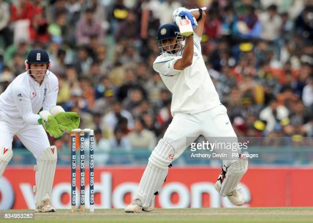 Rahul Dravid bats during the first day of the second test at the Punjab Cricket Association Stadium Mohali India