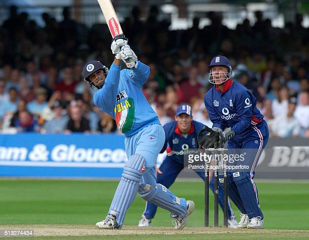 Rahul Dravid batting for India during the NatWest Series Final between England and India at Lord's London 13th July 2002 India won by two wickets