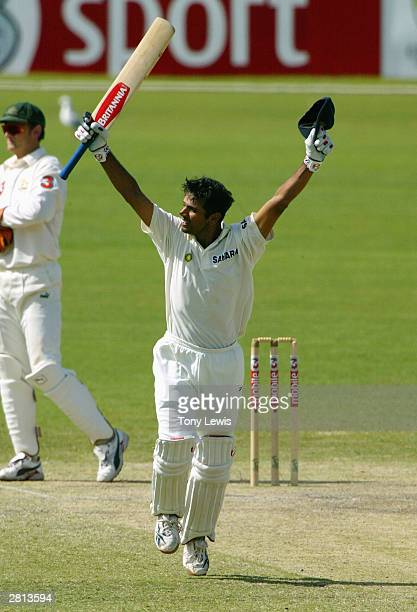 Rahul Dravid celebrates after hitting the winning run to give India a four wicket victory in the 2nd Test between Australia and India at the Adelaide...