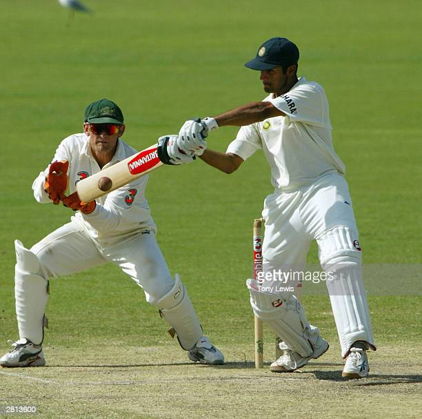 Rahul Dravid hits the winning run to give India a four wicket victory in the 2nd Test between Australia and India at the Adelaide Oval on December 16...