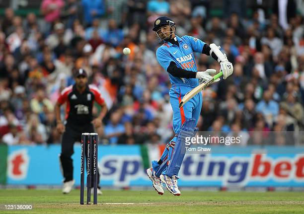 Rahul Dravid of India avoids a bouncer during the NatWest International Twenty20 Match between England and India at Old Trafford on August 31 2011 in...