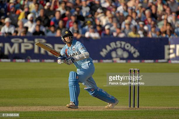 Rahul Dravid of India batting during his innings of 92 not out in the NatWest Series One Day International between England and India at Bristol 24th...