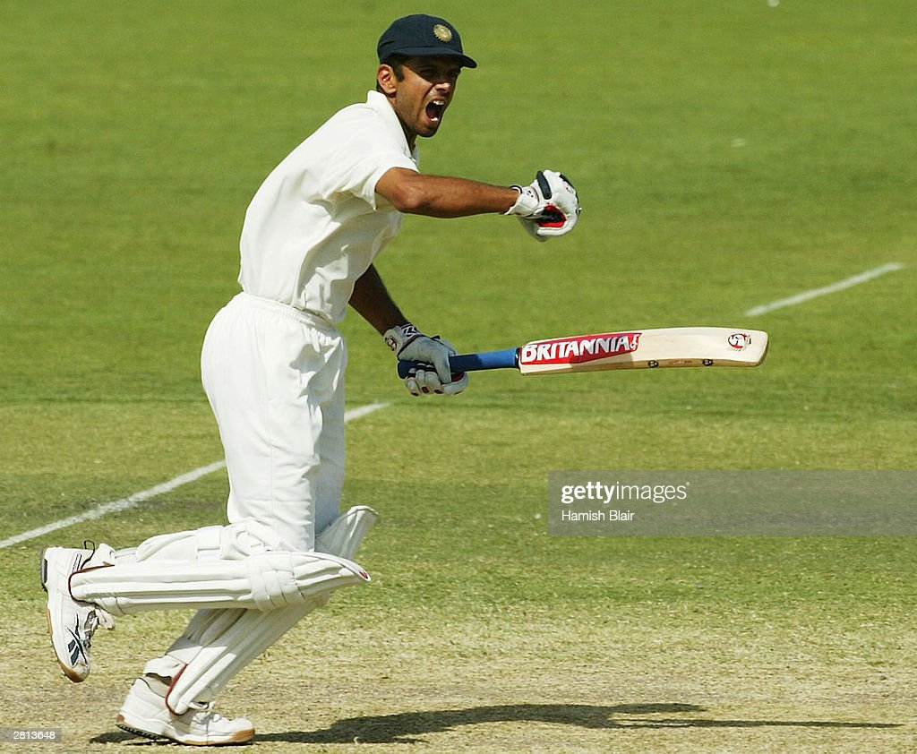 Rahul Dravid of India celebrates after hitting the winning runs during the fifth day of the 2nd Test between Australia and India at the Adelaide Oval...