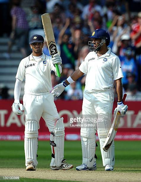 Rahul Dravid of India celebrates his century with Yuvraj Singh during the second npower Test match between England and India at Trent Bridge on July...