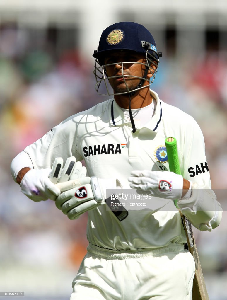 <a gi-track='captionPersonalityLinkClicked' href=/galleries/search?phrase=Rahul+Dravid&family=editorial&specificpeople=211062 ng-click='$event.stopPropagation()'>Rahul Dravid</a> of India heads for the pavillion after beng dismissed during day four of the 3rd npower Test at Edgbaston on August 13, 2011 in Birmingham, England.