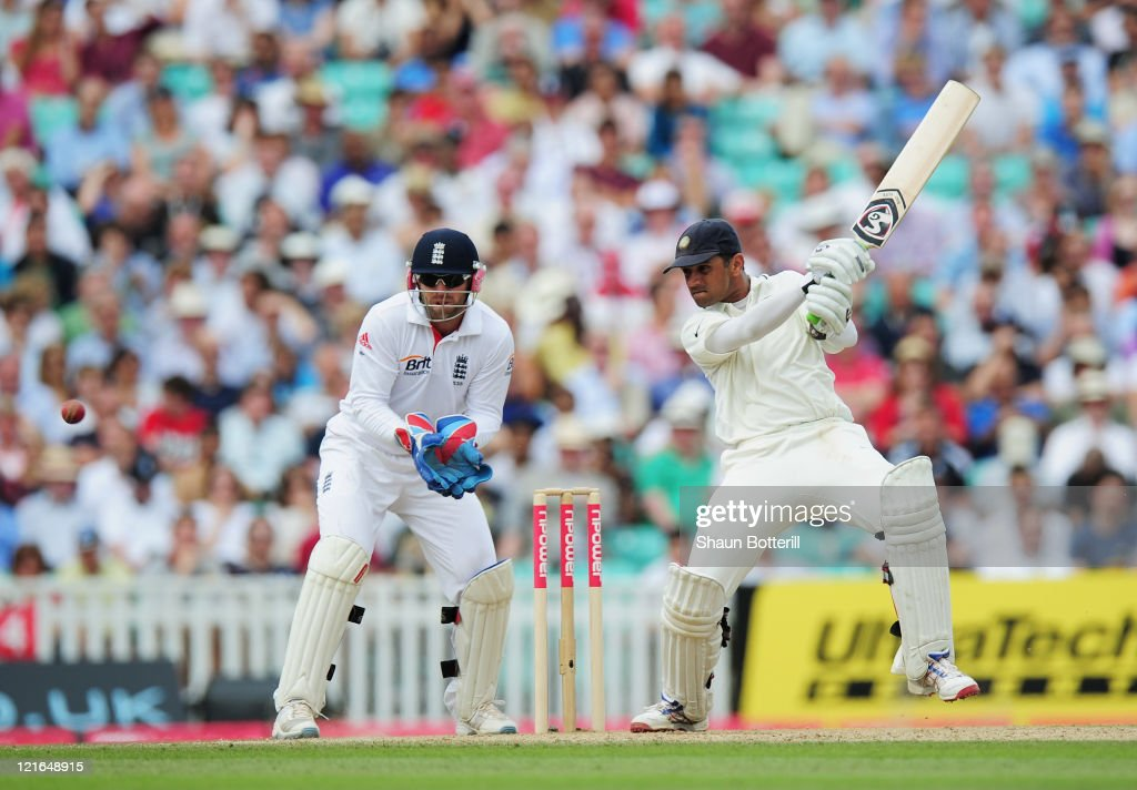 <a gi-track='captionPersonalityLinkClicked' href=/galleries/search?phrase=Rahul+Dravid&family=editorial&specificpeople=211062 ng-click='$event.stopPropagation()'>Rahul Dravid</a> of India hits out watched by wicketkeeper <a gi-track='captionPersonalityLinkClicked' href=/galleries/search?phrase=Matt+Prior+-+Cricket+Player&family=editorial&specificpeople=13652111 ng-click='$event.stopPropagation()'>Matt Prior</a> of England during day four of the 4th npower Test Match between England and India at The Kia Oval on August 21, 2011 in London, England.