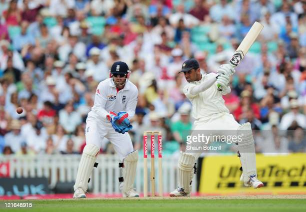 Rahul Dravid of India hits out watched by wicketkeeper Matt Prior of England during day four of the 4th npower Test Match between England and India...