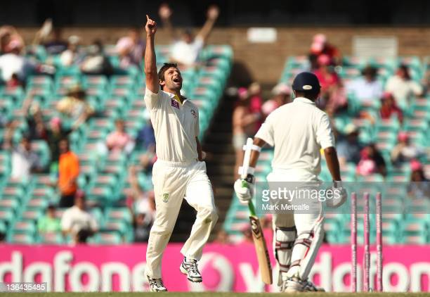 Rahul Dravid of India is bowled by Ben Hilfenhaus of Australia during day three of the Second Test Match between Australia and India at Sydney...