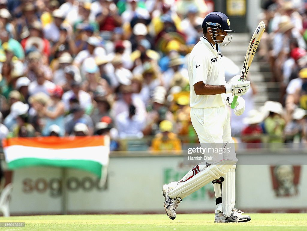 <a gi-track='captionPersonalityLinkClicked' href=/galleries/search?phrase=Rahul+Dravid&family=editorial&specificpeople=211062 ng-click='$event.stopPropagation()'>Rahul Dravid</a> of India leaves the field after being dismissed during day one of the third Test match between Australia and India at WACA on January 13, 2012 in Perth, Australia.