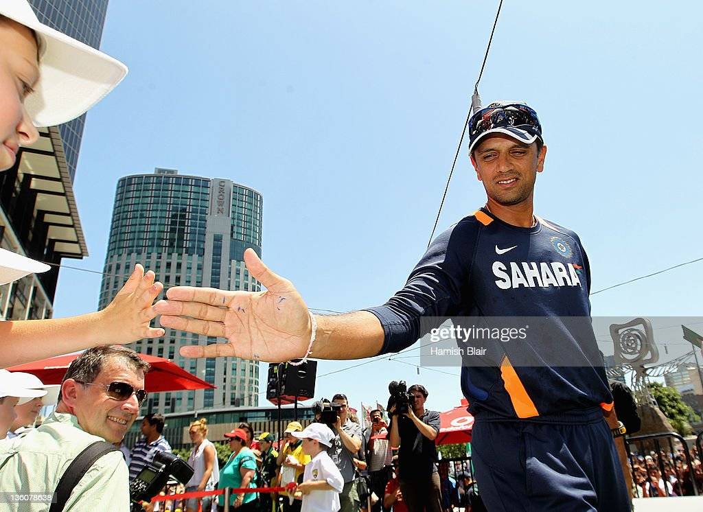 <a gi-track='captionPersonalityLinkClicked' href=/galleries/search?phrase=Rahul+Dravid&family=editorial&specificpeople=211062 ng-click='$event.stopPropagation()'>Rahul Dravid</a> of India meets the fans during the Australian Test team fan day at Federation Square on December 23, 2011 in Melbourne, Australia.