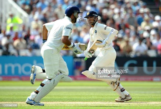 Rahul Dravid of India piles on the runs with Yuvraj Singh during the second npower Test match between England and India at Trent Bridge on July 30...