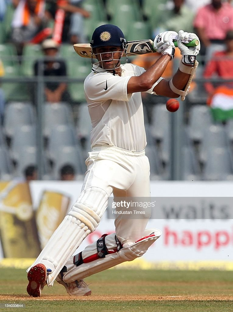 <a gi-track='captionPersonalityLinkClicked' href=/galleries/search?phrase=Rahul+Dravid&family=editorial&specificpeople=211062 ng-click='$event.stopPropagation()'>Rahul Dravid</a> of India plays a shot during the third day of the third test match between India and West Indies at Wankhede stadium in Mumbai, India on November 24, 2011. (Photo by Santosh Harhare/Hindustan Times via Getty Images).