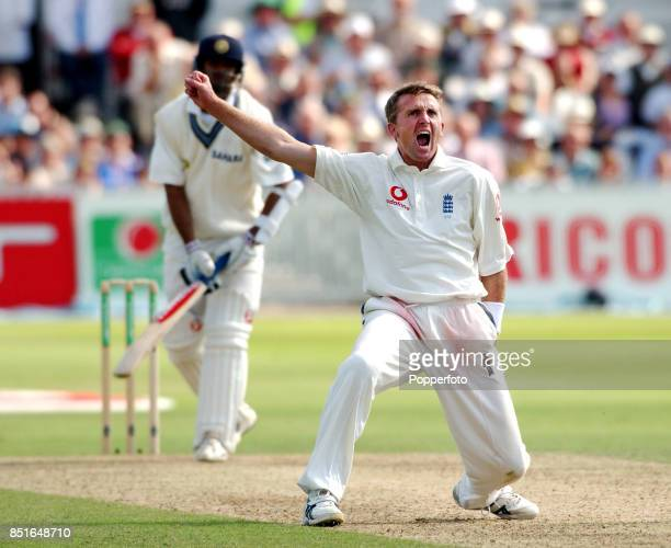 Rahul Dravid of India sees his innings ended on 115 as Dominic Cork of England traps him LBW during the Second npower Test match between England and...