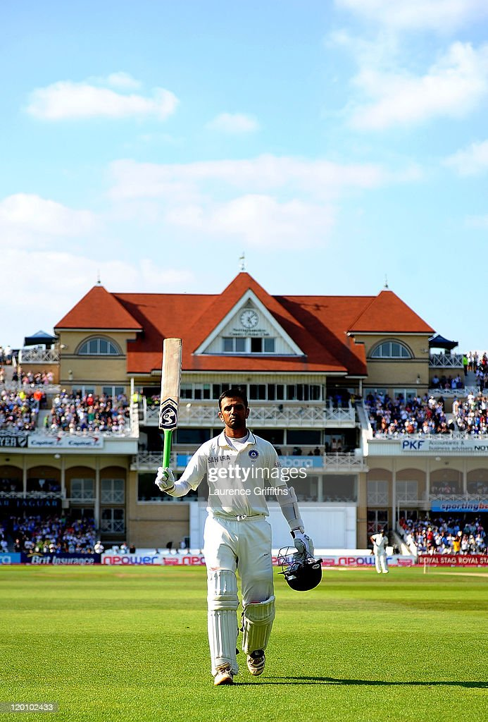 <a gi-track='captionPersonalityLinkClicked' href=/galleries/search?phrase=Rahul+Dravid&family=editorial&specificpeople=211062 ng-click='$event.stopPropagation()'>Rahul Dravid</a> of India walks to the pavilion after scoring 117 runs during the second npower Test match between England and India at Trent Bridge on July 30, 2011 in Nottingham, England.