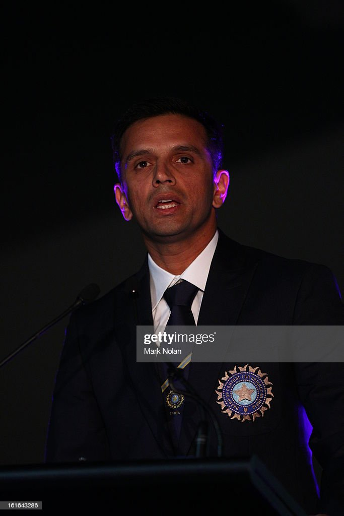 <a gi-track='captionPersonalityLinkClicked' href=/galleries/search?phrase=Rahul+Dravid&family=editorial&specificpeople=211062 ng-click='$event.stopPropagation()'>Rahul Dravid</a> speaks during the Sir Don Bradman Oration at the Australian War Memorial on December 14, 2011 in Canberra, Australia.