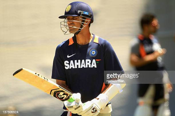 Rahul Dravid waits to bat in the nets during an Indian nets session at Adelaide Oval on January 22 2012 in Adelaide Australia
