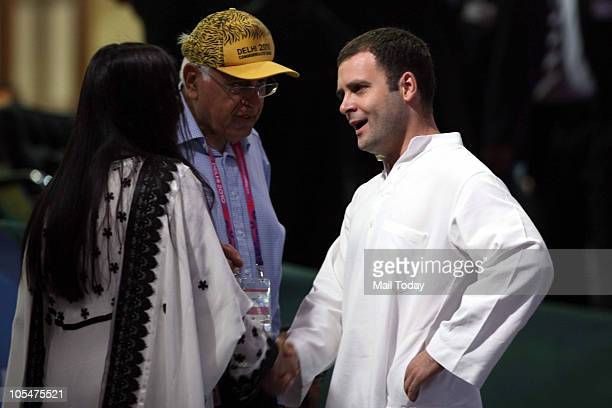Rahul Gandhi and Farooq Abdullah at the closing ceremony of 19th Commonwealth Games 2010 at Jawaharlal Nehru Stadium in New Delhi on October 14 2010