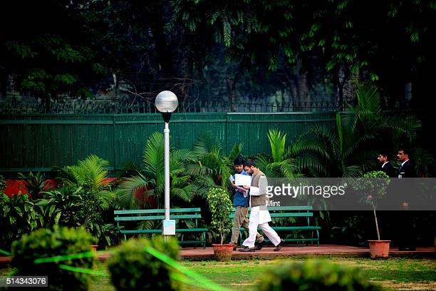 Rahul Gandhi arriving for a meeting with junior congress leaders in AICC office on February 20 2014 in New Delhi India