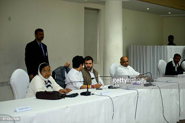 Rahul Gandhi attends a meeting with junior congress leaders in AICC office on February 20 2014 in New Delhi India