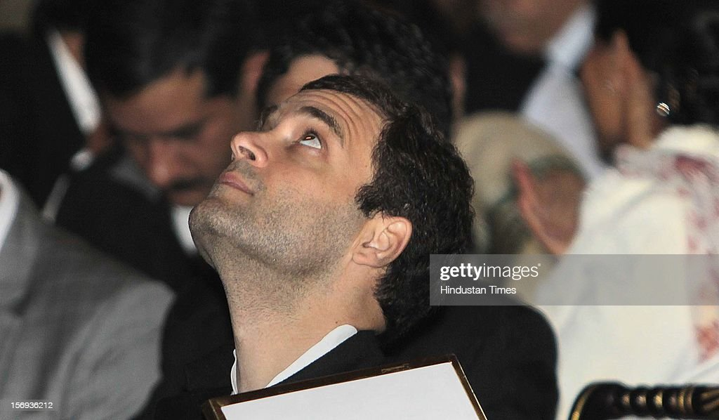 <a gi-track='captionPersonalityLinkClicked' href=/galleries/search?phrase=Rahul+Gandhi&family=editorial&specificpeople=171802 ng-click='$event.stopPropagation()'>Rahul Gandhi</a> during a function of Indira Gandhi Peace Prize 2010 at Rashtrapati Bhawan, on November 22, 2012 in New Delhi, India. 2010 Indira Gandhi Prize for Peace, Disarmament and Development was conferred to Former President of Brazil Luiz Inacio Lula da Silva.