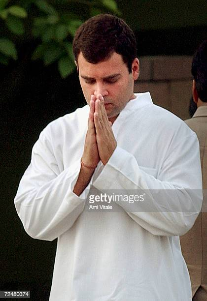 Rahul Gandhi son of Sonia Gandhi chief of India's Congress Party pays tribute to his father Rajiv Gandhi at his memorial on the occasion of the...