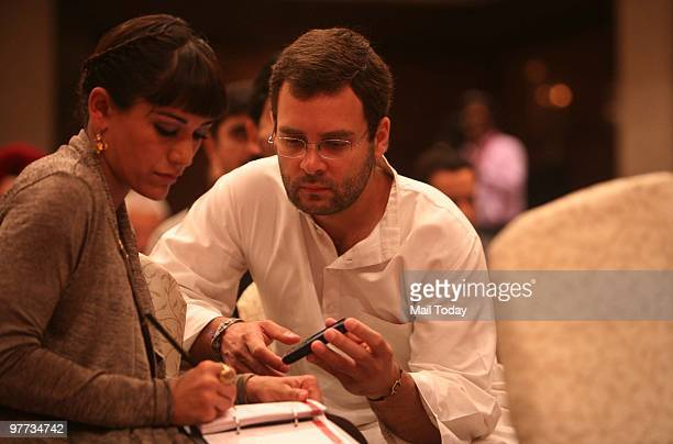 Rahul Gandhi speaks to actress Koel Puri at the second day of the India Today Conclave in New Delhi on March 13 2010
