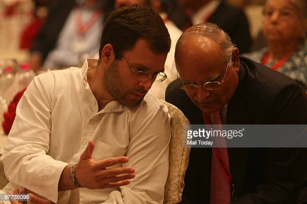 Rahul Gandhi speaks with India Today editor Prabhu Chawla at the second day of the India Today Conclave in New Delhi on March 13 2010