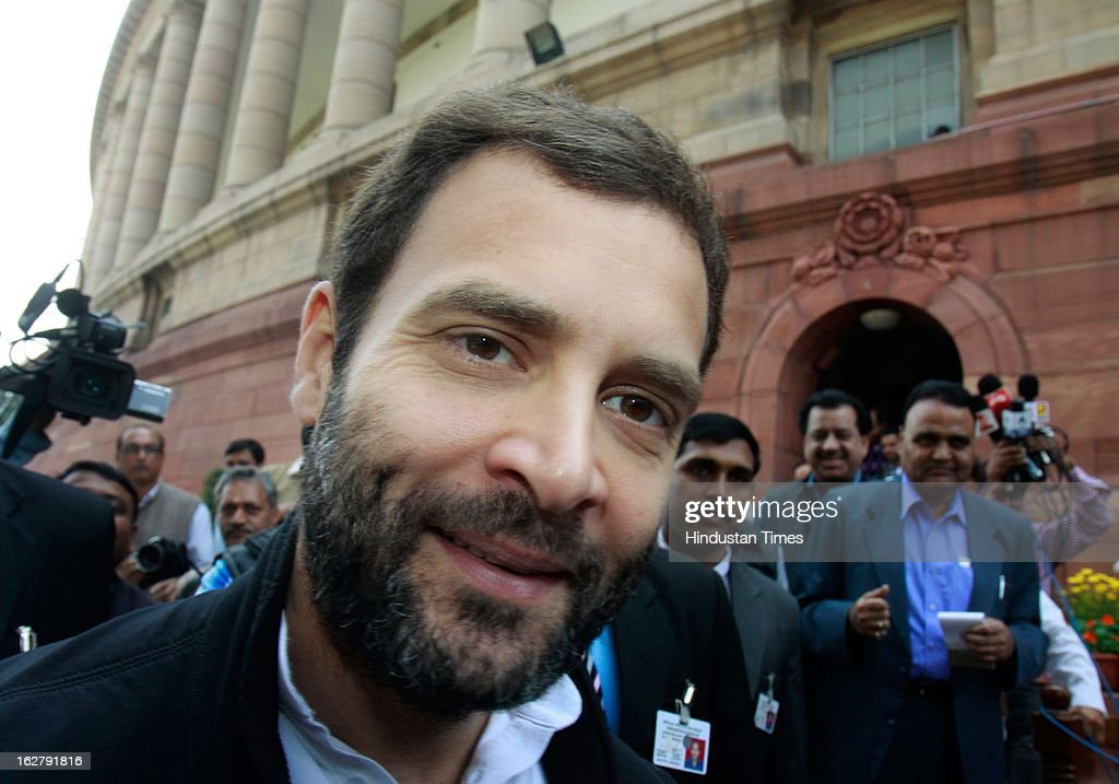 Rahul Gandhi Vice President congress Party and Member of parliament after attending ongoing parliament budget session at Parliament House on February 27, 2013 in New Delhi, India.