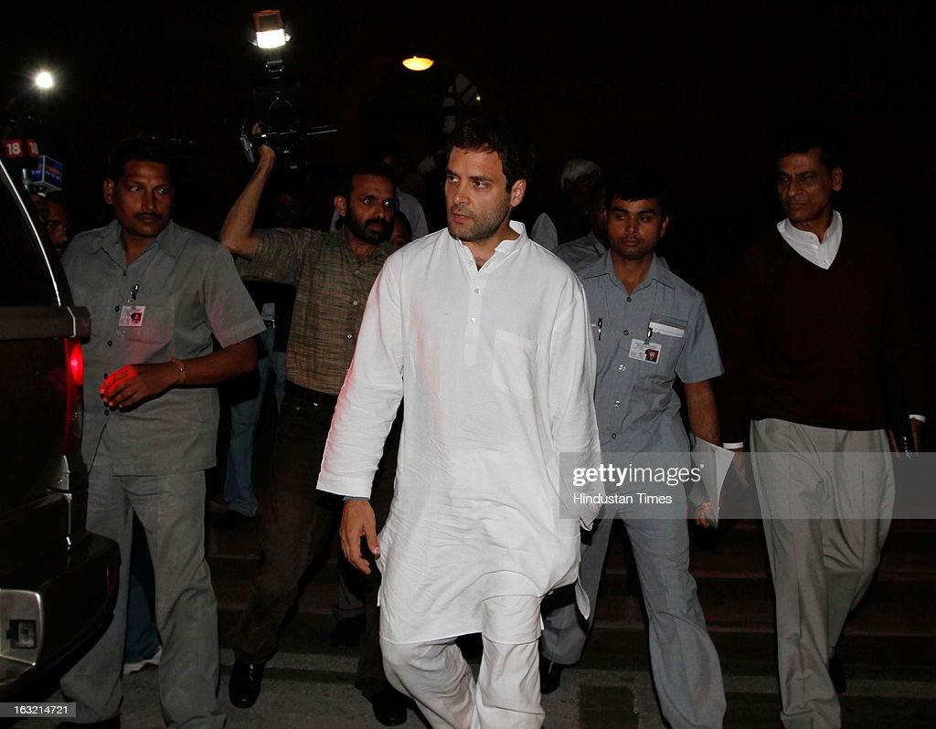 Rahul Gandhi Vice President of Congress Party leaving Parliament house after Prime Minister's Speech on March 6, 2013 in New Delhi, India. In his speech in the Lok Sabha the PM Manmohan Singh today hit out at BJP for trying to belittle UPA government's achievements saying the party will fail at the hustings next year like it did in 2004 and 2009.
