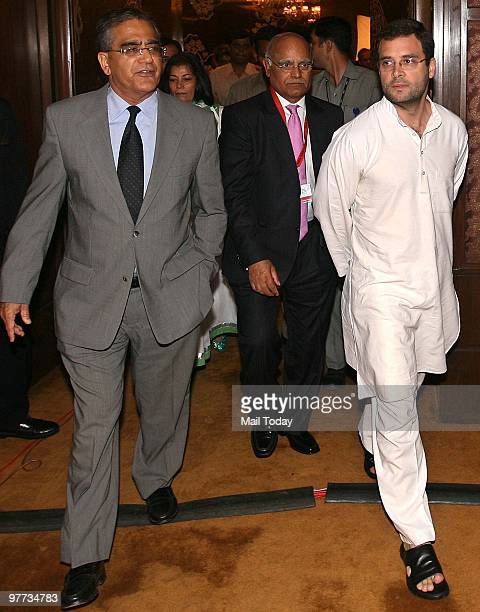 Rahul Gandhi with India Today group chairman Aroon Purie and India Today editor Prabhu Chawla at the second day of the India Today Conclave in New...