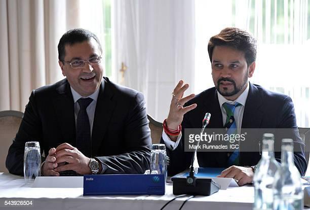 Rahul Johri and Anurag Thakur of India during the ICC Full Council meeting at The Waldorf Astoria The Caledonian on June 30 2016 in Edinburgh Scotland