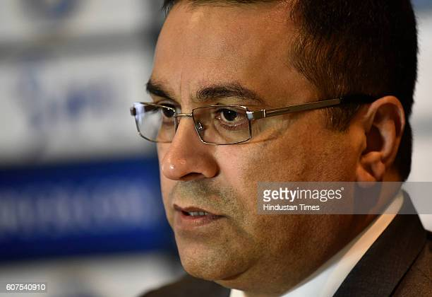 Rahul Johri first ever Chief Executive Officer of BCCI during a press conference on September 18 2016 in New Delhi India BCCI President Anurag Thakur...