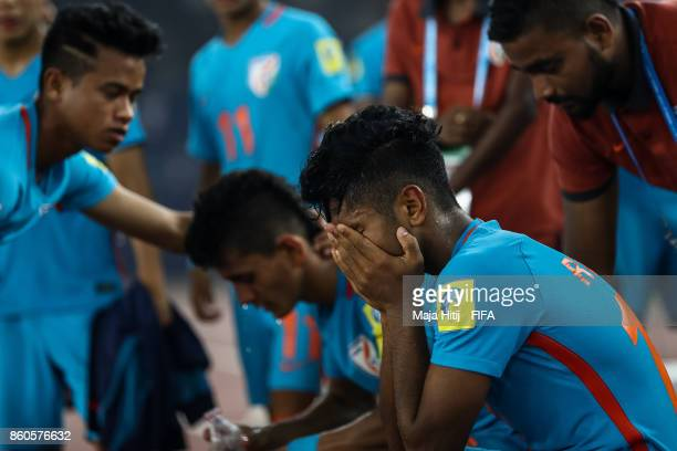 Rahul Kannoly of India reacts after the FIFA U17 World Cup India 2017 group A match between Ghana and India at Jawaharlal Nehru Stadium on October 12...