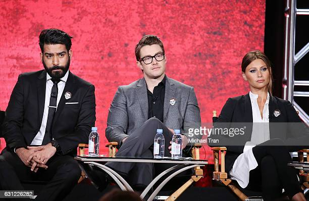 Rahul Kohli Robert Buckley and Aly Michalka for the 'iZombie' television show speak onstage during the 2017 Winter TCA Tour Panels CW held at The...