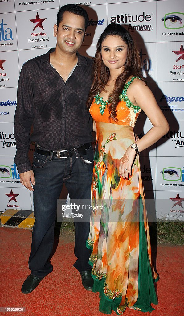 Rahul Mahajan with wife Dimpy Mahajan during Indian Television Academy Awards 2012 (ITA Awards), held in Mumbai on November 4, 2012.