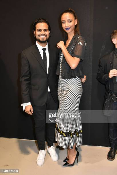 Rahul Mishra and Flora Coquerel attend the Rahul Mishra show as part of the Paris Fashion Week Womenswear Fall/Winter 2017/2018 at Palais Tokyo on...