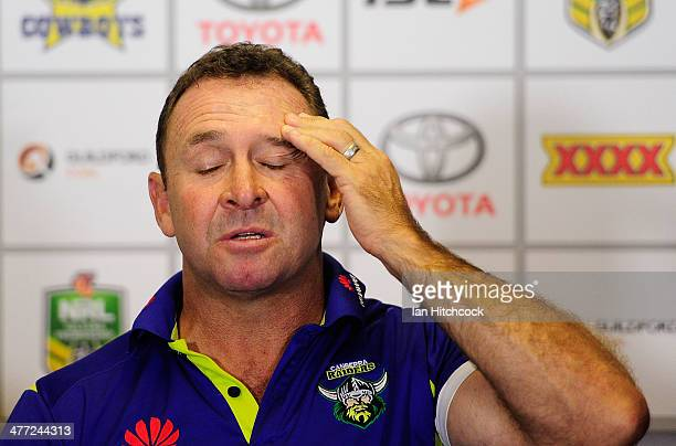 Raiders coach Ricky Stuart gestures during the post match press conference at the end of the round one NRL match between the North Queensland Cowboys...