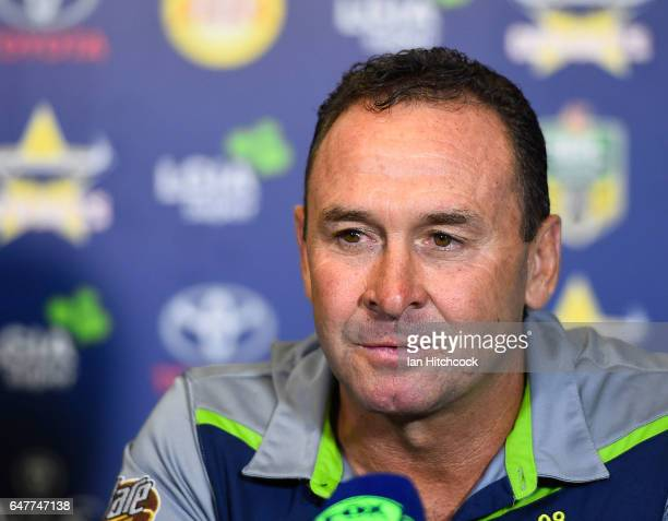Raiders coach Ricky Stuart looks on at the post match media conference at the end of during the round one NRL match between the North Queensland...