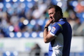 Raiders coach Ricky Stuart looks on before the round 18 NRL match between the Gold Coast Titans and the Canberra Raiders at Cbus Super Stadium on...